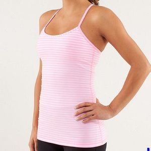 Lululemon Pink & White Stripped Power Y Tank Luon